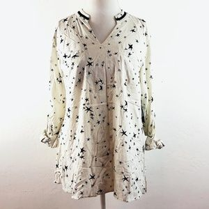 Style&co. Star Print Long Sleeved Blouse Top